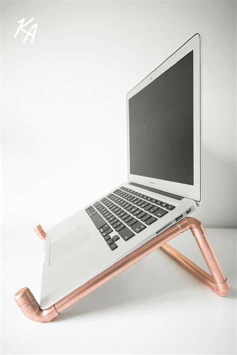 Laptop Holder For Desk Copper Pipe Laptop Stand Laptop Notebook Stand Desk Polished Copper Chic Modern Office