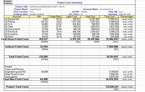 Aspen Economic Evaluation Aspentech Manufacturing Cost Estimate Template