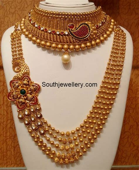 Antique Gold Choker and Long Chain latest jewelry designs   Jewellery Designs