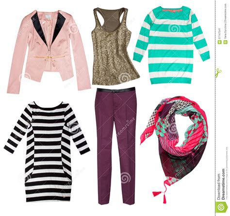 whats in seson to waer fashion women s clothes isolated stock photo image