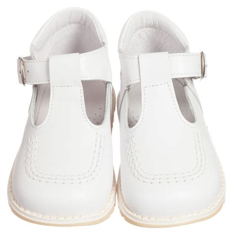 children s classics white leather t bar shoes
