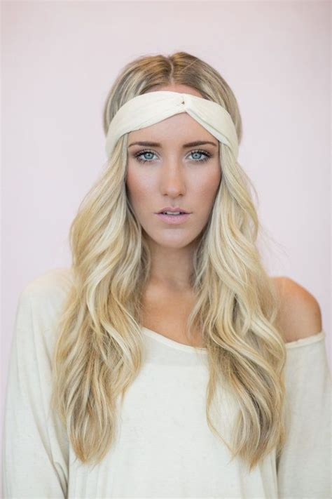 ivory turban headband thin hair band for