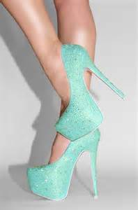 mint sparkle heels shoes pastel and