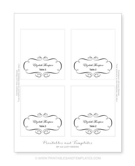 free place card template 4 per sheet 10 best images of place card template printable