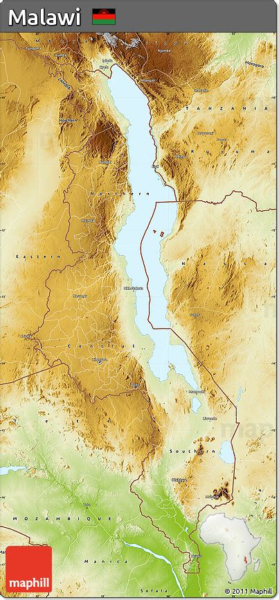 geographical map of malawi free physical map of malawi