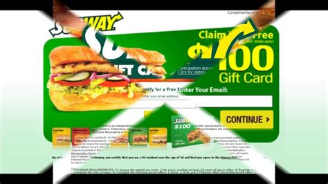 Balance On Gift Card Subway - free subway gift card 2013 youtube