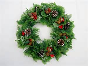 plastic christmas wreath pinecones berries nuts and by