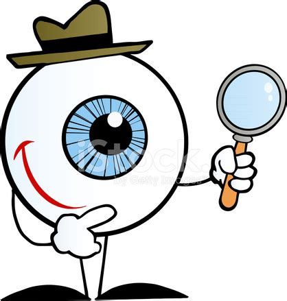 blue eyeball character detective holding a magnifying