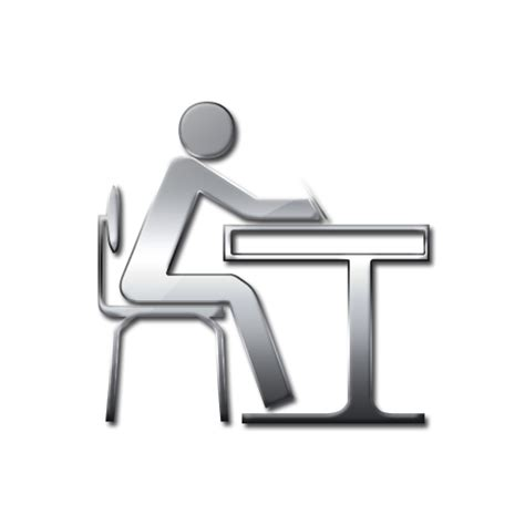 student sitting at desk 11 student at desk icon images black and white student