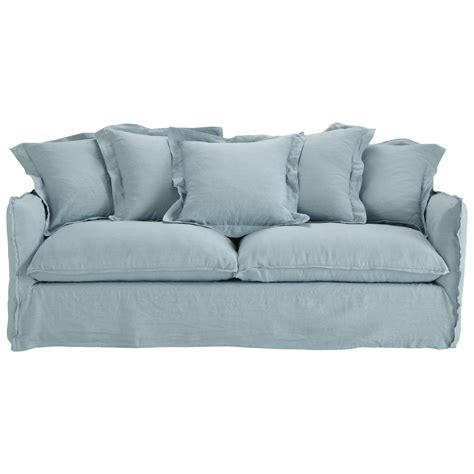 blue grey couch sofa in blue grey washed linen seats 3 4 barcelone