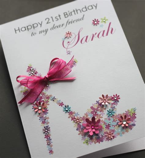 Big Handmade Cards - large a5 handmade personalised floral shoe birthday card