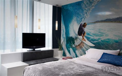 surf themed bedroom beach and surf wall murals interior design ideas