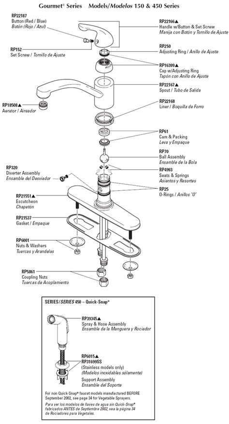 delta kitchen faucet parts diagram plumbingwarehouse com delta kitchen faucet parts for