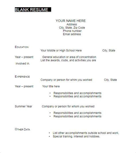 Blank Resume Template Word by 22 Blank Resume Templates Free Pdf Word Documents
