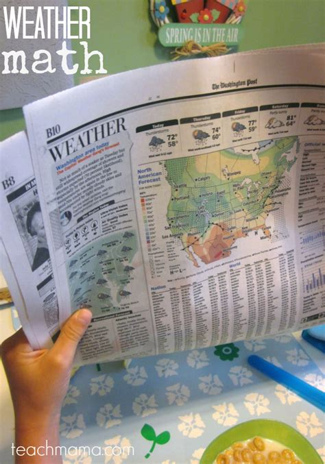 newspaper weather section using the weather forecast for sneaky math learning