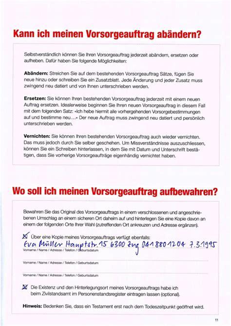 Muster Vorsorgeauftrag Schweiz Vorsorgeauftrag Shop Caritas Schweiz