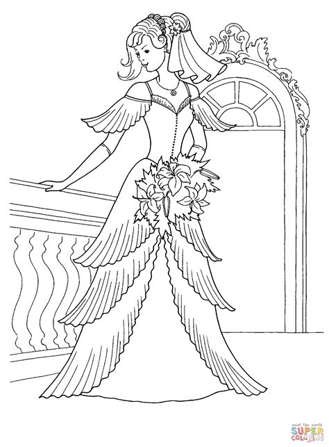 Ausmalbild Prinzessin Im Hochzeitskleide Ausmalbilder