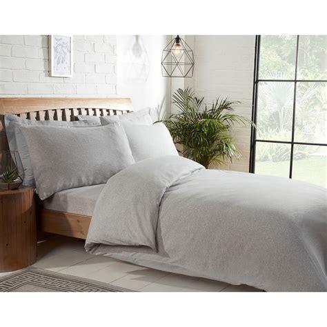 silentnight jersey double duvet set light grey bedding