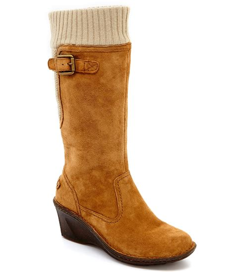 wedge boots ugg 174 skyfall sweater cuff suede wedge boots dillards