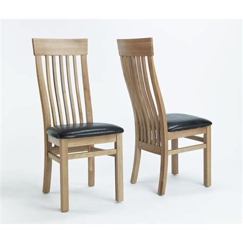 solid oak dining room chairs sherwood solid oak furniture set of two leather seat
