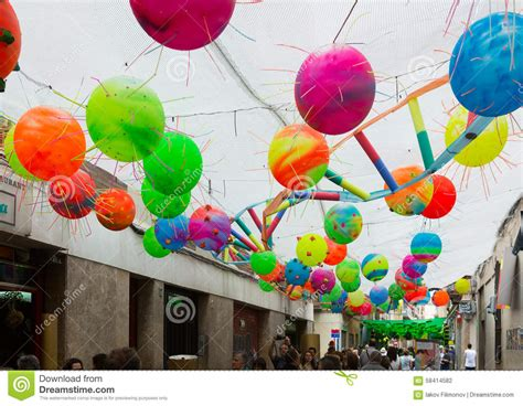 festive decorations gracia festival decorations in barcelona spain editorial