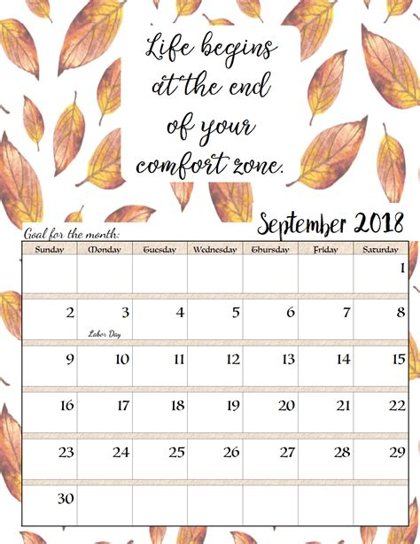 2018 calendar september quotes tumblr calendar template 2018 monthly calendars with inspirational motivational