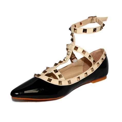studded flats shoes metal rivet studded comfy flat shoe sws12129