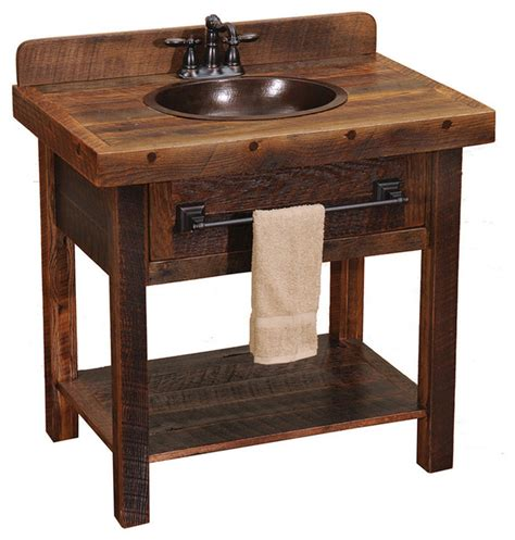 rustic bathroom sink cabinets barnwood open vanity with towel bar rustic bathroom
