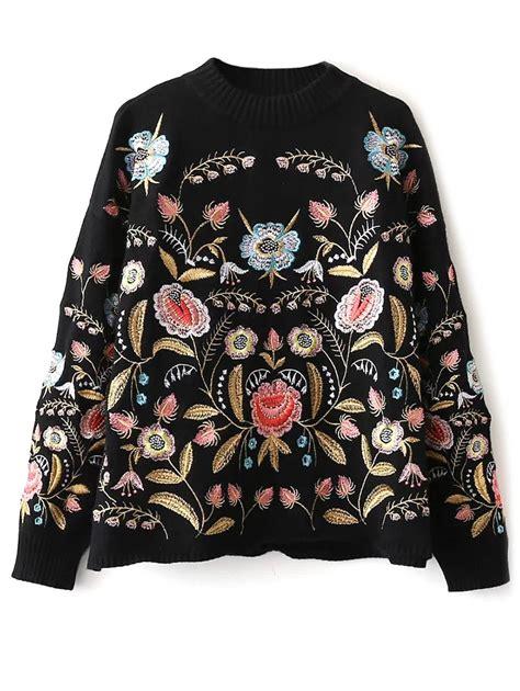 Black Flower Embroidery Depw030 floral embroidered mock neck sweater in black one size sammydress