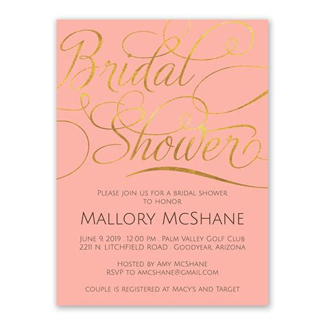 shops that sell wedding invitations gold bridal shower invitation s bridal bargains