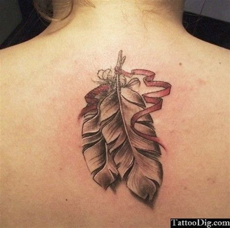 tattoo 3d feather feather pink ribbon tattoo two feathers back tattoo 3d