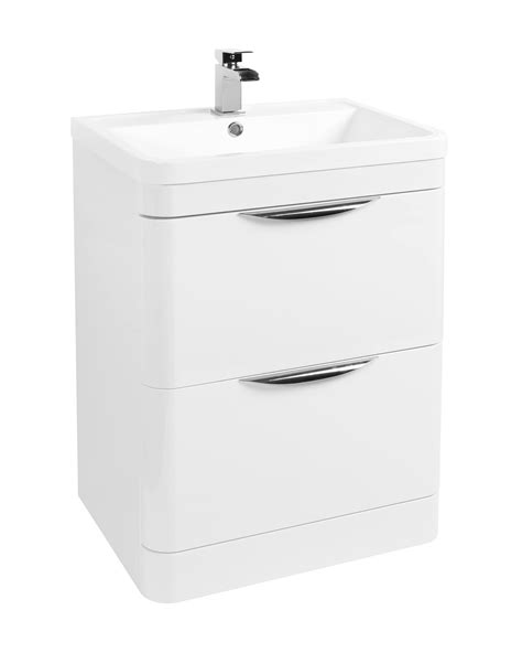 Floor Standing Vanity Unit by Beo 600mm Floor Standing 2 Drawer Vanity Unit And Basin White