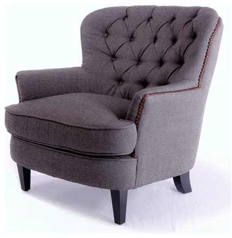 Grey Fabric Armchair by Alfred Tufted Gray Fabric Club Chair Traditional