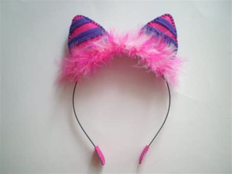 How To Make Cat Ears Headband Paper - pink and purple felt cheshire cat ear headband i could