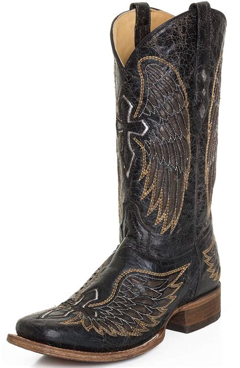 corral mens boots corral mens distressed black square toe cowboy boots with