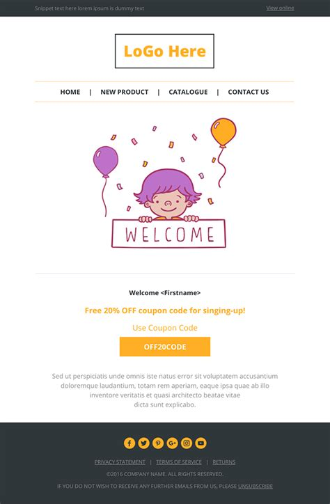 Top 20 Best Responsive And Open Source Html Email And Newsletter Templates Our Code World Welcome Email Template Html Free