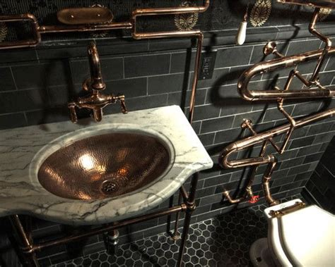 bathroom gorgeous steampunk bathroom design brass faucet