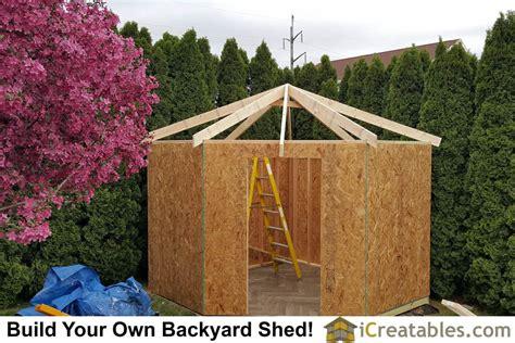 10 215 10 shed plan with corner hip roof design built in