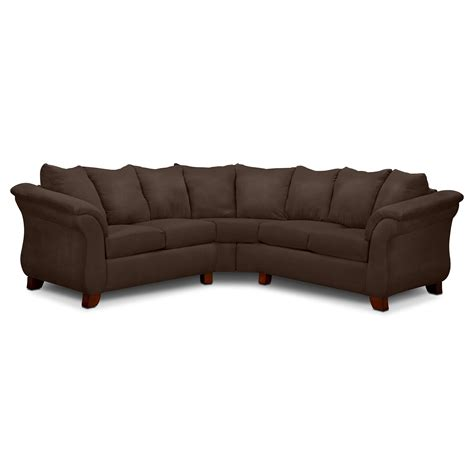 Adrian 2 Piece Sectional Chocolate Value City Furniture 2 Sectional Sofas