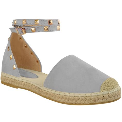 studded flats shoes womens studded espadrilles flats ankle strappy
