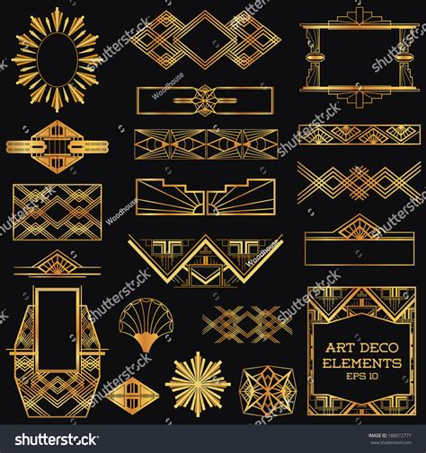 design elements of art deco art deco vintage frames design elements stock vector