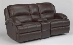 flexsteel leather gliding reclining loveseat with console