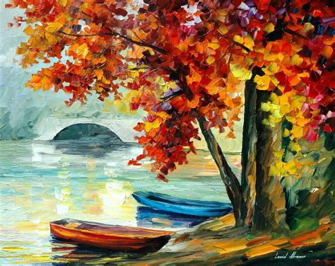 Landscape Artwork Canvas Two Boats Palette Knife Painting On Canvas By Leonid