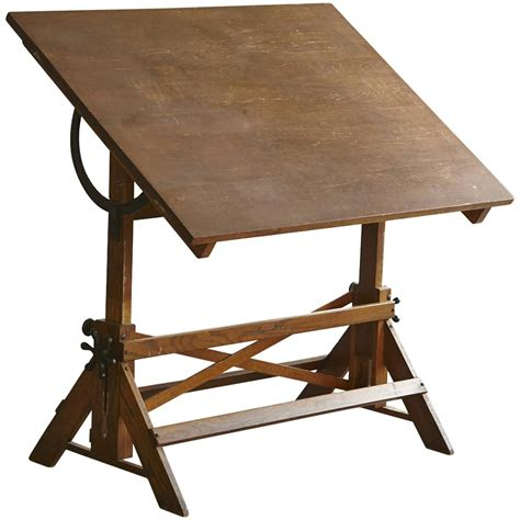 Drafting Table Vintage Antique Industrial American Oak Drafting Table At 1stdibs