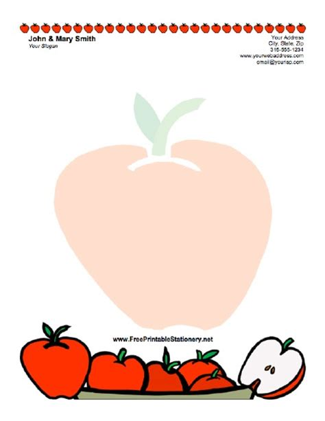 free printable apple stationery 5 best images of apple template lined printable apple