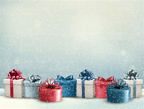 free christmas gifts with snowfall background vector titanui