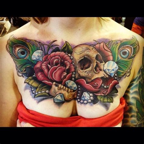 skull and rose tattoo meaning chest with skull diamonds and roses