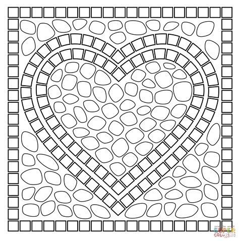 mosaic heart coloring page free printable coloring pages