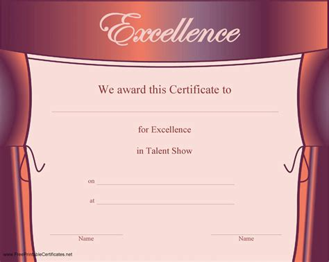talent show certificate template talent show certificate free premium