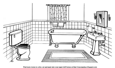 Coloring Page Bathroom | color a bathroom for a paper doll s house crayon palace